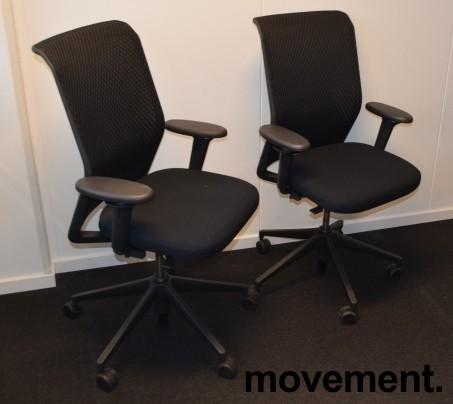Vitra ID Mesh kontorstol i sort stoff / mesh rygg, armlener, sort kryss, pent brukt bilde 3