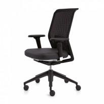 Vitra ID Mesh kontorstol i sort stoff / mesh rygg, armlener, sort kryss, pent brukt