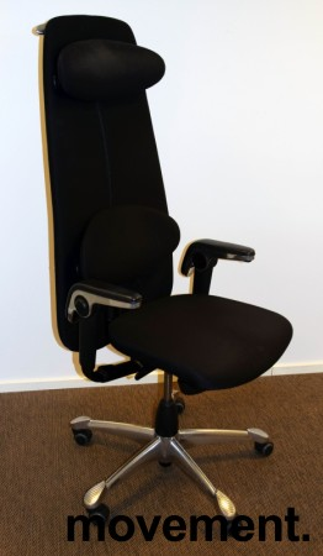 Direktørstol: HÅG H09 9130 i sort stoff, nedfellbart lene i sort skinn, krom kryss, jakkehenger, pent brukt bilde 1