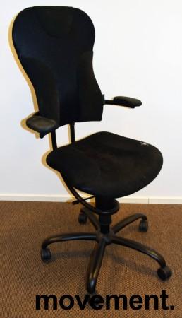 Ergonomisk, ryggvennlig kontorstol fra Spinalis, modell Spider med trekk i sort, pent brukt bilde 1