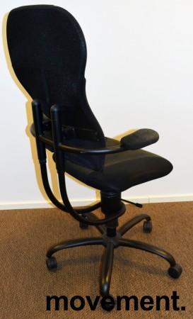 Ergonomisk, ryggvennlig kontorstol fra Spinalis, modell Spider med trekk i sort, pent brukt bilde 2