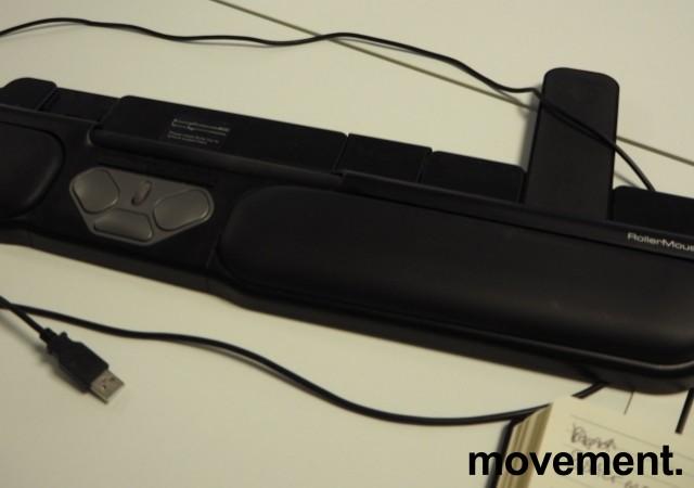 Rollermouse Pro2 USB i sort, ergonomisk tastaturmus mot musearm, pent brukt bilde 2
