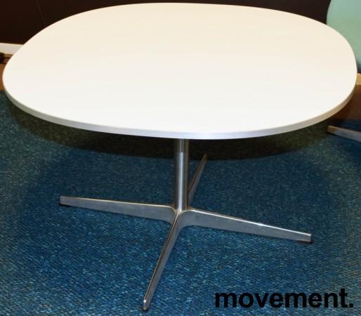 Fritz Hansen loungebord / kaffebord Supersirkulær, 75x75cm, H=47cm, hvit plate, alu kant, pent brukt bilde 1