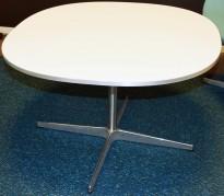 Fritz Hansen loungebord / kaffebord Supersirkulær, 75x75cm, H=47cm, hvit plate, alu kant, pent brukt