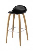 Barkrakk fra Gubi, sort sete, ben i eik, 75cm sittehøyde, Modell Gubi 3D-78, Komplot Design, pent brukt