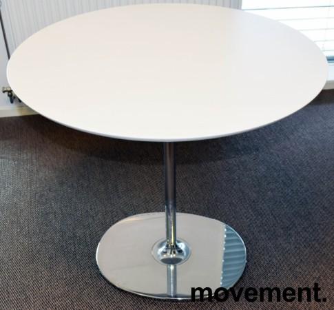 Rundt loungebord / kaffebord, Arper Dizzie, hvitt / krom, Ø=80cm, H=74,5cm, pent brukt bilde 1