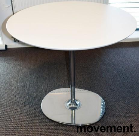 Rundt loungebord / kaffebord, Arper Dizzie, hvitt / krom, Ø=80cm, H=74,5cm, pent brukt bilde 4