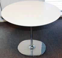 Rundt loungebord / kaffebord, Arper Dizzie, hvitt / krom, Ø=80cm, H=74,5cm, pent brukt