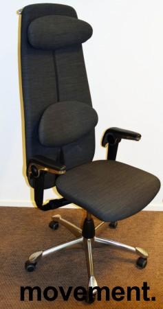 Kontorstol: HÅG H09 9130 i grått stoff, høy rygg, armlene, nakkepute, jakkehengert, krom kryss, pent brukt bilde 1