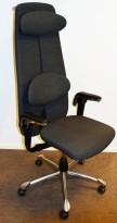 Kontorstol: HÅG H09 9130 i grått stoff, høy rygg, armlene, nakkepute, jakkehengert, krom kryss, pent brukt