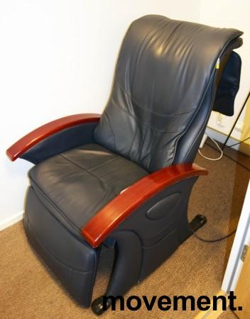 Massasjestol i sort kunstskinn, armlener i kirsebærtre, fra B-Well, pent brukt bilde 1