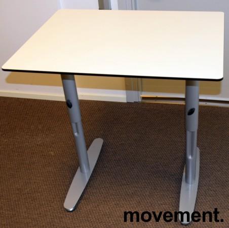 Sidebord / avlastningsbord / printerbord 80x60cm i hvitt med grå ben fra Edsbyn, pent brukt bilde 2