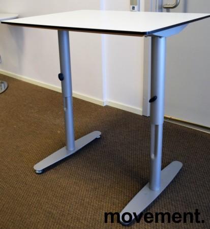 Sidebord / avlastningsbord / printerbord 80x60cm i hvitt med grå ben fra Edsbyn, pent brukt bilde 1