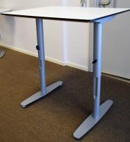 Sidebord / avlastningsbord / printerbord 80x60cm i hvitt med grå ben fra Edsbyn, pent brukt