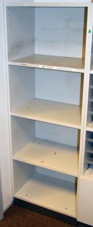 Åpen 60cm bred ringpermreol / bokhylle fra Martela i lys grå, Combo-serie, 4permhøyder, 165cm høyde, pent brukt