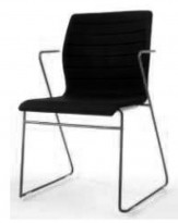 Stablebar konferansestol i sort, sortlakkerte meier, Z-armlene, modell LINE Stack, NY/UBRUKT