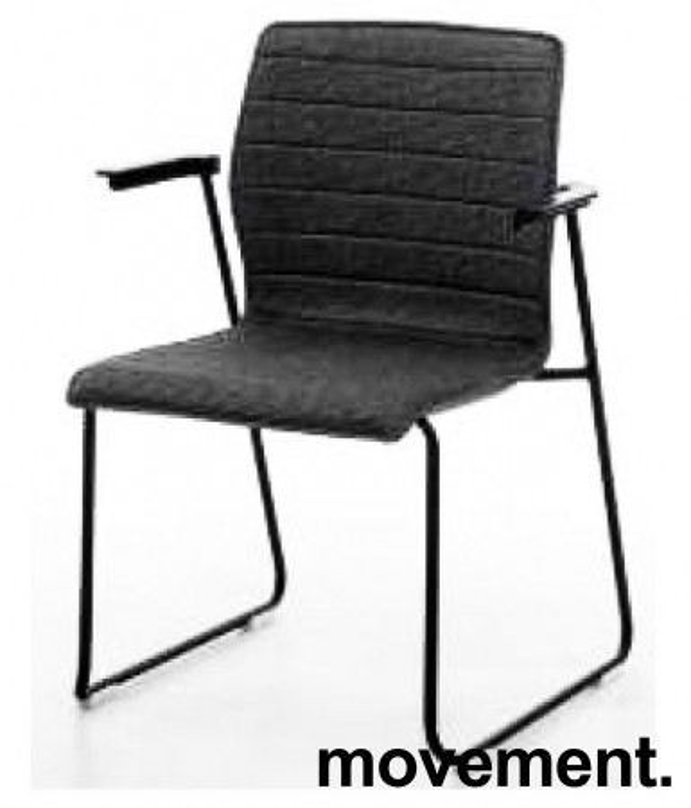 Konferansestol i sort, sortlakkerte meier, sorte armlener, modell LINE Lounge, NY/UBRUKT bilde 1