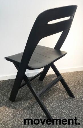 Klappstol i lett, moderne design, modell Novite, sort polypropylen, NY/UBRUKT bilde 3