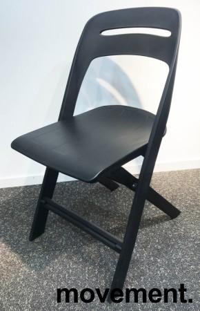 Klappstol i lett, moderne design, modell Novite, sort polypropylen, NY/UBRUKT bilde 2