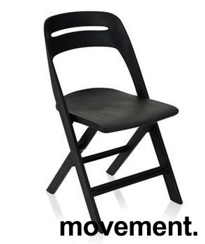 Klappstol i lett, moderne design, modell Novite, sort polypropylen, NY/UBRUKT bilde 1