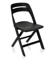 Klappstol i lett, moderne design, modell Novite, sort polypropylen, NY/UBRUKT