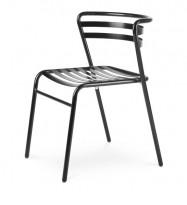 Lekker stablestol i sortlakkert metall, kan brukes utendørs, modell NIC, NY/UBRUKT
