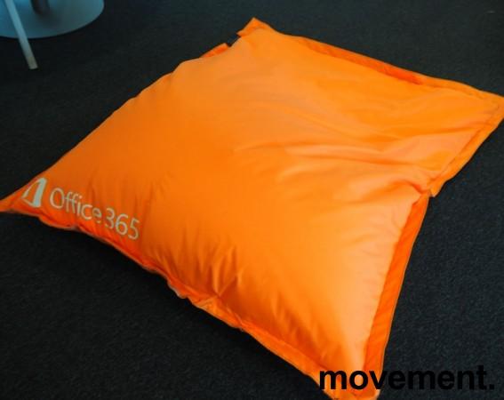 Saccosekk / loungemøbel i oransje stoff med reklame, pent brukt bilde 1