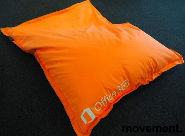 Saccosekk / loungemøbel i oransje stoff med reklame, pent brukt bilde 2