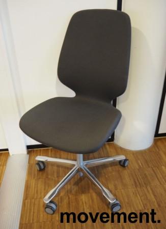 Kinnarps Monroe konferansestol i mørk grå / oliven / polert aluminium, pent brukt bilde 1