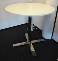 Barbord / ståbord i hvitt / krom fra Kinnarps, modell Oberon, Ø=90cm, høyde 91cm, pent brukt