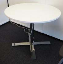 Lite møtebord / avlastningsbord, Kinnarps Oberon i hvitt / krom, Ø=90cm, pent brukt