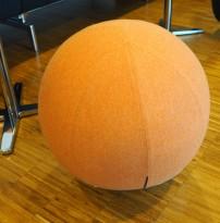 Rund puff / loungemøbel i koralfarget stoff / krom, Ø=54cm, Boullee fra Materia, pent brukt