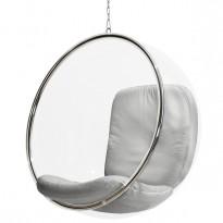 Designstol: Bubble chair i klar akryl / lyst grått skinn fra Adelta, design: Eero Aarnio, Ø=105cm, høyde 108cm, pent brukt
