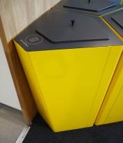 Søppelbøtte / papirkurv / kildesortering for restavfall i gullakkert metall fra Trece, pent brukt