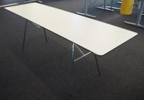 Møtebord / konferansebord i hvitt / krom, 200x60cm, passer 6 personer, pent brukt