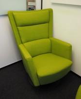 Loungestol / lenestol Apollo fra Kinnarps i grønt stoff, pent brukt
