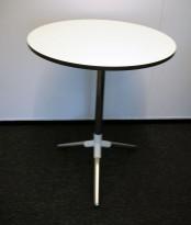Loungebord / sofabord i hvitt / krom fra Materia, modell Obilite, Ø=47cm, pent brukt