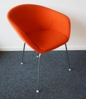 Loungestol / besøksstol i rødorange stoff / krom, pent brukt