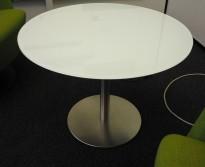 Loungebord / sofabord i hvitt glass / satinert stål, Ø=70cm, pent brukt