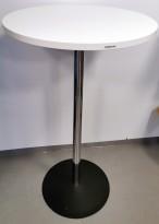 Ståbord i hvitt / krom fra Altistore, Ø=65cm, høyde 111cm, pent brukt