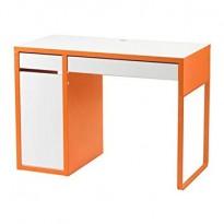 Skrivebord i hvitt / orange fra IKEA, modell Micke, 105x50cm, pent brukt