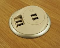 Strømuttak med USB-kontakter for nedfelling i møtebord / kjøkkenbenk / skrivebord etc, pent brukt