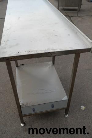 Arbeidsbenk i rustfritt stål 285cm bredde,65cm dybde, 96cm høyde, pent brukt bilde 2