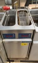 Metos FSP-D frityrkoker med stativ, 2 kammer, 400V 3fas, 40cm bredde, pent brukt