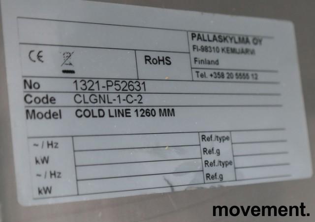 Kjølebenk fra Porkka i rustfritt stål med kjøledør og 2 kjøleskuffer, 126cm bredde, 64cm høyde, pent brukt bilde 6