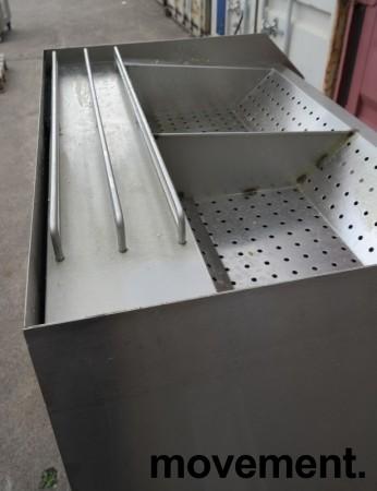 Benk for oppbevaring av ferdig fritert pommes frites i rustfritt stål, bredde 100cm, pent brukt bilde 2