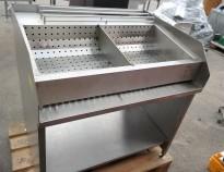 Benk for oppbevaring av ferdig fritert pommes frites i rustfritt stål, bredde 100cm, pent brukt