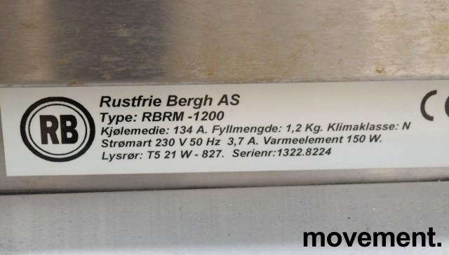 Kjøledisk / kakedisk med skyvedører i bakkant og luker i front, Rustfrie Bergh, 120cm bredde, pent brukt bilde 4