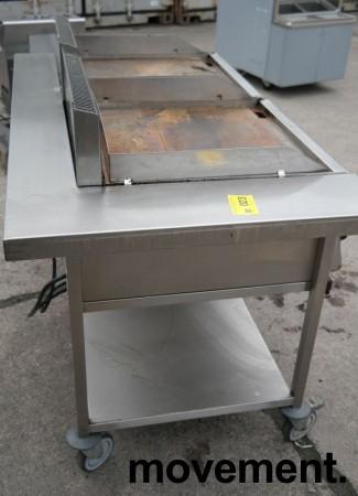 Metos steketopp / flatgrill / stekeplate, elektrisk, 2 stk på vogn, 400V, bredde 140cm, pent brukt bilde 6