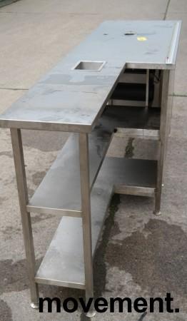 Arbeidsbenk med koppholdere / koppdispenser i rustfritt stål, 215x60cm, pent brukt bilde 5